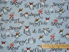 Let It Snow Angel Snowflake Christmas Windham Fabric  by 1/2 Yard  #36257