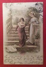 CPA. 1903. Deux Jeunes Filles. Escalier. Cygne. Style Viennois.