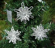 Set of 3 Gisela Graham  Silver 3d Glitter Snowflake Christmas Tree Decorations