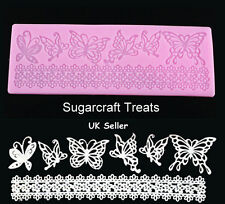 Edible Sugar Lace Butterfly Border Silicone Mould Mat Cup Cake  Sugarpaste