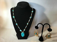 """Vintage"" Ethnic Tribal Goldtone Filligris Scarab Stone Necklace & Earrings"