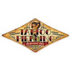 Tattoo & Piercing oldschool BLECHSCHILD retro rockabilly Metallschild groß