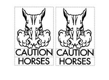 HORSE FLOAT DECAL SET OF TWO LARGE CAUTION HORSES Trailer stud stallion Sticker