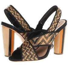 Schutz Dolorcita Natural And Black Leather And Woven Peep Toe Sandal Size 8 New