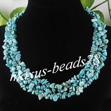 """Free shipping Turquoise Chips Gemstone Beads Weave Necklace 17 1/2 """" MH077"""