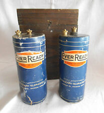 Vintage Battery Box With Ever Ready Batteries - Made for Dictograph Telephones