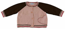 JACADI Girls Rocaille Brown/Pink Heart Embellished Cardigan Age 12 Month NWT $68