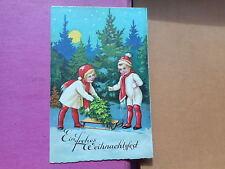 AK Frohes Weihnachtsfest Kinder mit Tannenbaum und Schlitten 1930 gelaufen