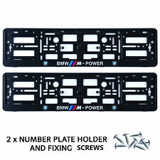 NEW 2x BMW M POWER BLACK NUMBER PLATE SURROUNDS HOLDER FRAME CAR + FIXING SCREWS