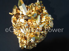 1 HUGE STARBRARY PURE 24KT GOLD AURA LEMURIAN SEED QUARTZ CRYSTAL POINT CLUSTER!