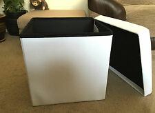 WHITE Ottoman Folding Storage Box Pouffe Footstool Seat Pop Up Cube Faux Leather