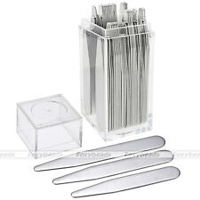 HOT 36pc Mens Silver Metal Collar Stays Bone Stiffeners in Plastic Box FB Gift