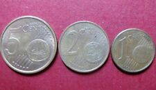 *Mixed  LOT of  3  EURO COINS, Fine Circulated  5, 2 and 1 CENTS, Coin Lot  #6