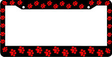 RED PAW PRINTS CRITTER DOG CAT License Plate Frame