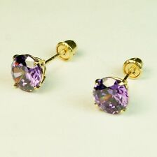 14k solid yellow gold 6mm Amethyst stud screw back gorgeouse earrings 1.75 tcw