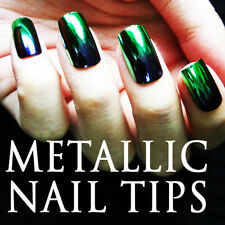 24 PCS 2-Tone Gradient Metallic False Nail Tips Full Tips 200-3