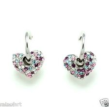 Heart W Swarovski Crystal Round Multi Color Earrings Jewelry Gift