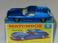 MATCHBOX SUPERFAST 05 LOTUS EUROPA, Dark Blue Thin Wheels in Rare F1 SF Box