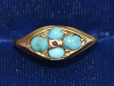1876 Antique 15ct YELLOW GOLD, Persian TURQUOISE & Tiny RUBY Victorian RING - J