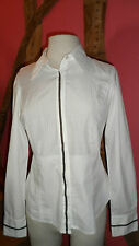 Blanc taille 8 à manches longues chemisier à rayures empiècement par Alan MANOUKIAN