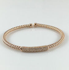 925 Sterling Silver Womens Mesh Bangle Rose Gold Ladies Bracelet CZ Stones 7""