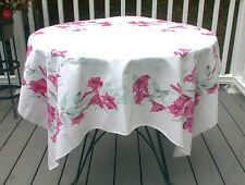 TABLECLOTH RED PINK TEAL GREEN FLOWERS VINTAGE