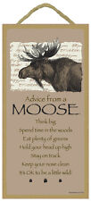 "ADVICE FROM A MOOSE Primitive Wood Hanging Sign 5"" x 10"""