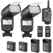 2X TT850 FLASH with BATTERY FOR CANON NIKON + WIRELESS TRIGGER+ 2X RECEIVER