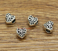 20 Silver Metal Heart Beads Large Hole European Bead Antique Silver 10x10x8 2506