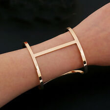 Fashion Women Gold Plated Charm Hollow H Shape Cuff Bracelet Bangle Gift