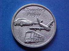 "Rare TRAVEL Pocket Token Protection 1-1/8"" Saint Medal CAR Plane Bus Prayer"