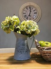 Galvanised French  Vintage style Jug, Pitcher, Shabby Chic Vase Flowers & Garden