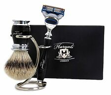3 Piece Shaving Set (Pure Sliver Tip Hair Brush,Gillette Fusion Razor & Holder).