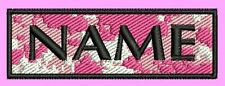 Pink Camo Camouflage Personalised Embroidered Name Patch/Badge 8cm x 3cm