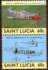 North American P-51 MUSTANG WWII Aircraft Stamps (1985 St Lucia Specimen O/P)