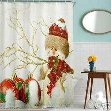 Christmas Xmas Waterproof Polyester Bathroom Shower Curtain Decor With Hooks
