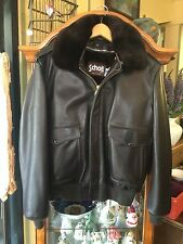 Vintage 1960s A-2 Schott 60s Leather Faux Fleece Lined Flight Jacket Size 42