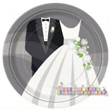SILVER WEDDING LARGE PAPER PLATES (8) ~ Bridal Engagement Party Supplies Dinner