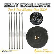 50ft Fiberglass roll Black Racing Exhaust Header Pipe Wrap Tape Ties combo KIT