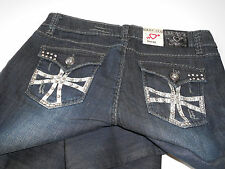 NWT EXPENSIVE BOUTIQUE $195 RHINESTONE STUD SLIGHT FLARE DECONSTRUCED JEANS 13