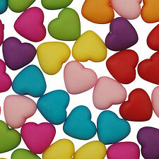 50 x multi-coloured Frosted Acrylic Heart Beads - 9mm - L109