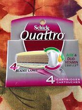 Best Women's Schick Quattro 4 Razor Blades 4 Refill Cartridges Aloe Vitamin