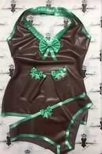 R1637/1088/1112 Rubber Latex TOP+MITTS+BRIEFS 10 Brown/Emerald Fetish