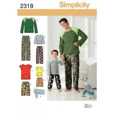 SIMPLICITY SEWING PATTERN BOYS & MEN'S PANTS OR SHORTS KNIT TOP FOR DOG  2318