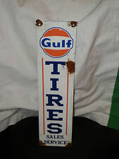 Antique style-vintage porcelain look good Gulf dealer tire sales gas pump sign
