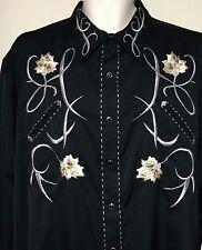Roper Western Wear Shirt 2XL Black Floral pearl snap Rockabilly Cowboy embroider
