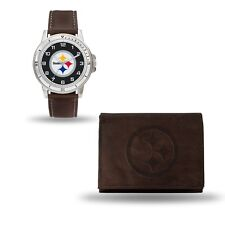 Pittsburgh Steelers Watch and Wallet Gift Set- NFL Brown Leather Stainless Steel