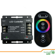 DC12-24V 6A/CH 3Channel RGB Iron Shell LED Controller RF 6Keys Black Remote