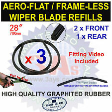 "AERO FLAT FRAME LESS BOSCH TYPE WIPER BLADE REFILLS 28"" CUT TO SIZE (3 PCS)"