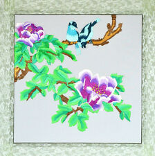 "18"" BROCADED CHINESE GIFT TRADITIONAL SILK EMBROIDERY PAINTING: BIRD & FLOWERS"